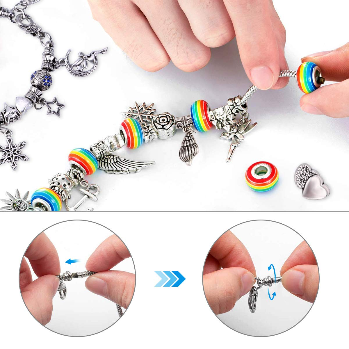 Beads Craft with Silver Plated Snake Chain Gift for Girl Teens Birthday Christmas Friendship DIY Charm Jewelry Making Set Bracelet Making Kit