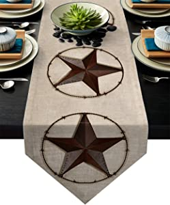 Z&L Home Linen Burlap Table Runner Dresser Scarves, Retro Western Texas Star Table Runners for Dinner Holiday Party, Wedding, Events, Kitchen Decor American Farmhouse Barn Style 13x90Inch