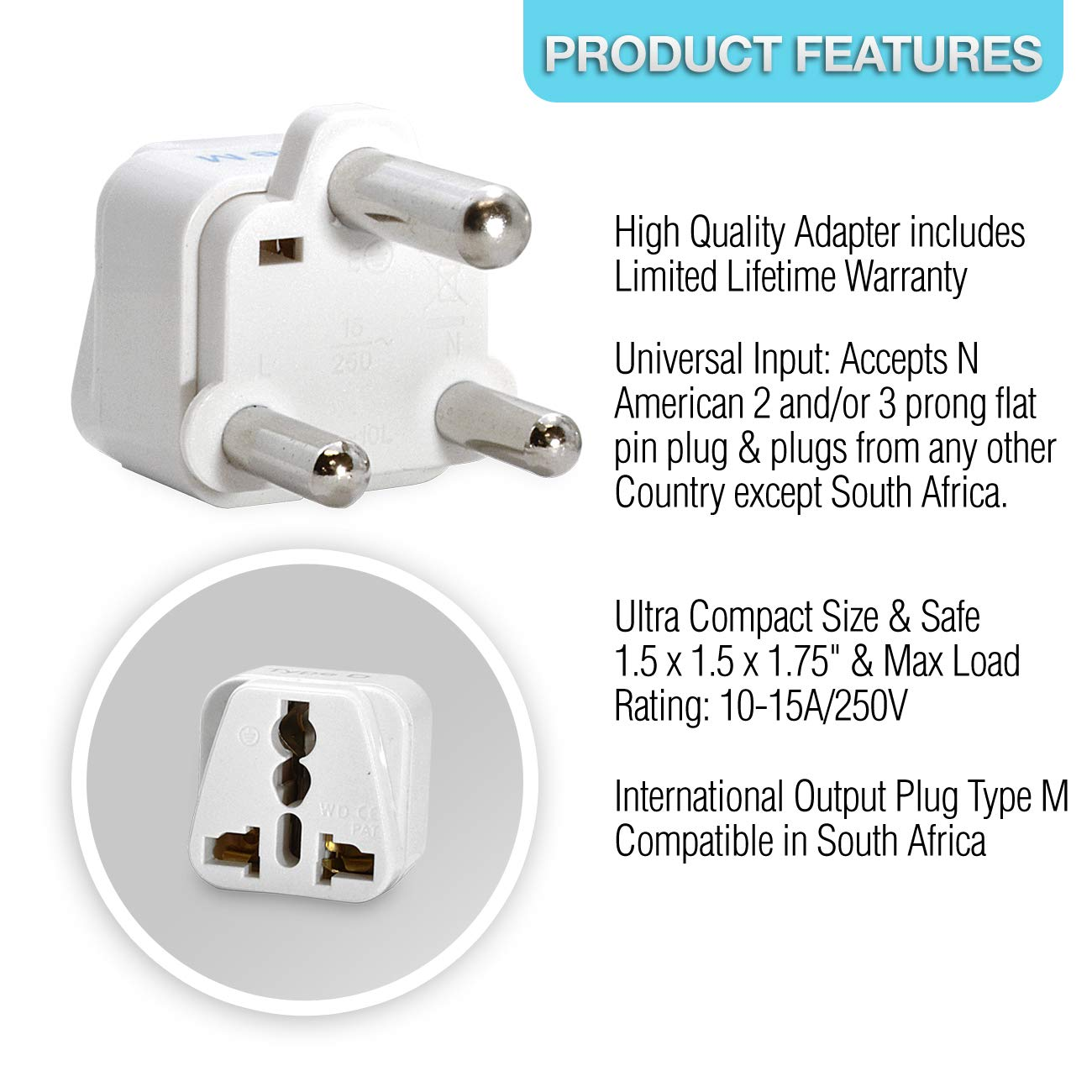 half off 4e93b b1d04 Ceptics Grounded Universal Plug Adapter for South Africa, Type M, 3 Pack   Amazon.ca  Electronics