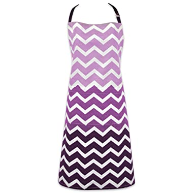 DII Cotton Ombre Chevron Women Kitchen Apron with Pocket and Extra Long Ties, 33 x 28 , Cute Fashion Apron for Cooking, Baking, Gardening, Crafting, BBQ-Eggplant