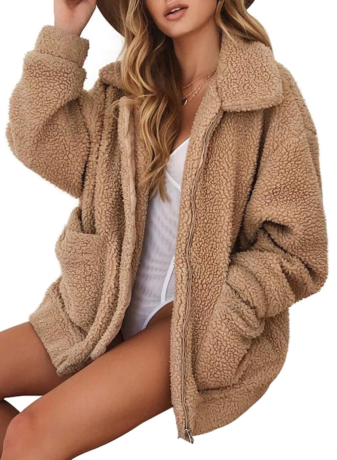 ROSKIKI Womens Winter Warm Chunky Fluffy Zip Up Coat Cozy Oversized Faux Shearling Bear Jacket with Pockets Outwear Khaki L