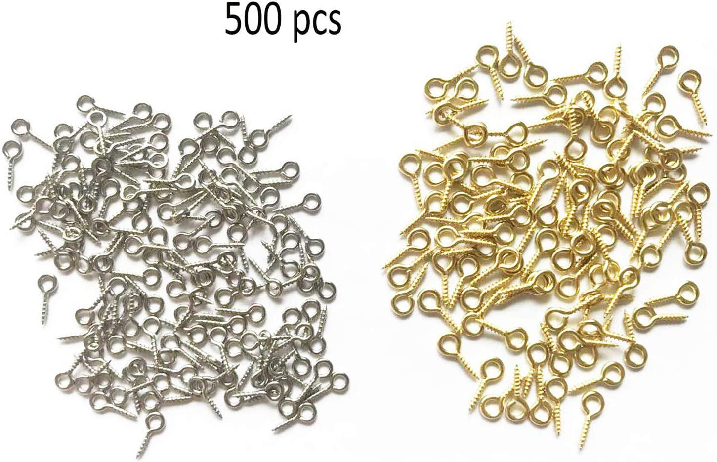 Small Mini Eyes Screw-in Hooks Jewelry Eye Pin,Silver+Gold Colors 500 PCS
