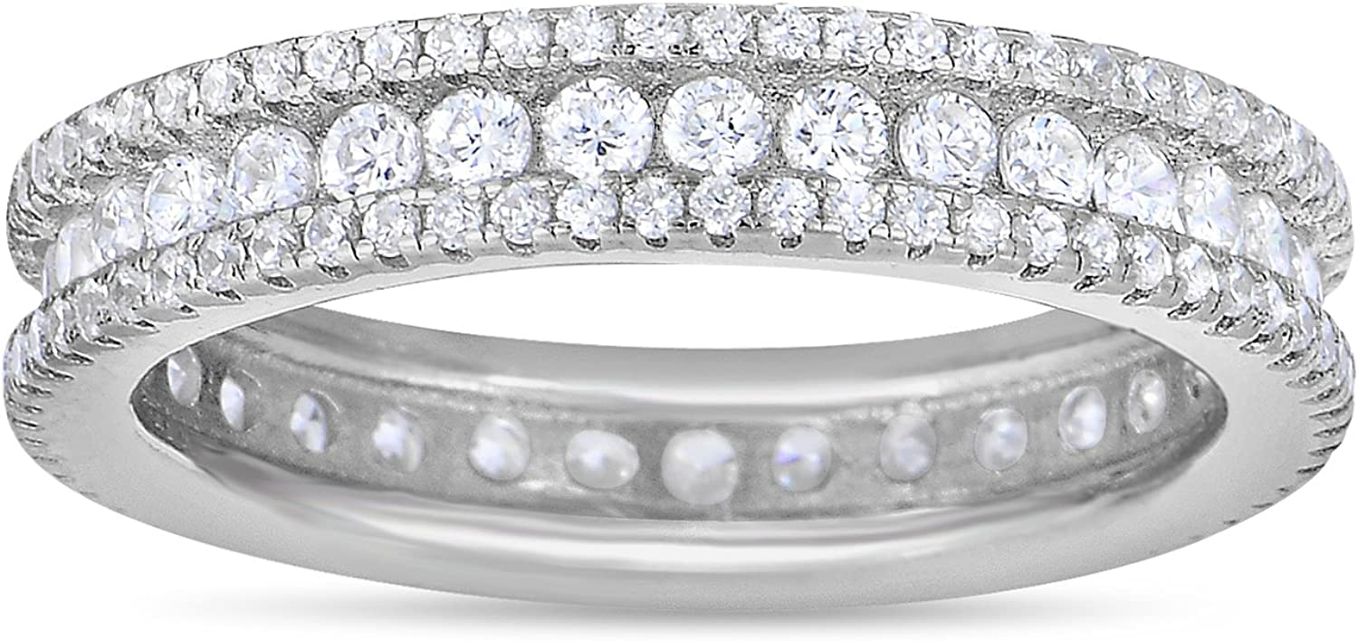 Unique Royal Jewelry Sterling Silver Cubic Zirconia Eternity Wedding Band Cubic Zirconia Engagement Ring