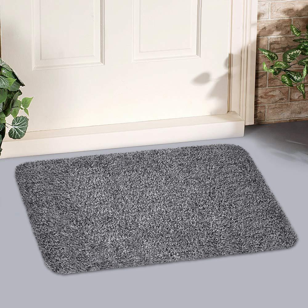Indoor Doormat Super Absorbs Mud 18''x28'' Latex Backing Non Slip Door Mat for Small Front Door Inside Floor Dirt Trapper Mats Cotton Entrance Rug Shoes Scraper Machine Washable Carpet Black White Fiber