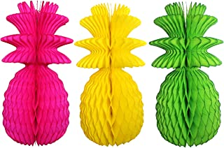 product image for Large Solid Colored 13 Inch Honeycomb Pineapple Party Decoration Kit (Cerise, Yellow, Lime)
