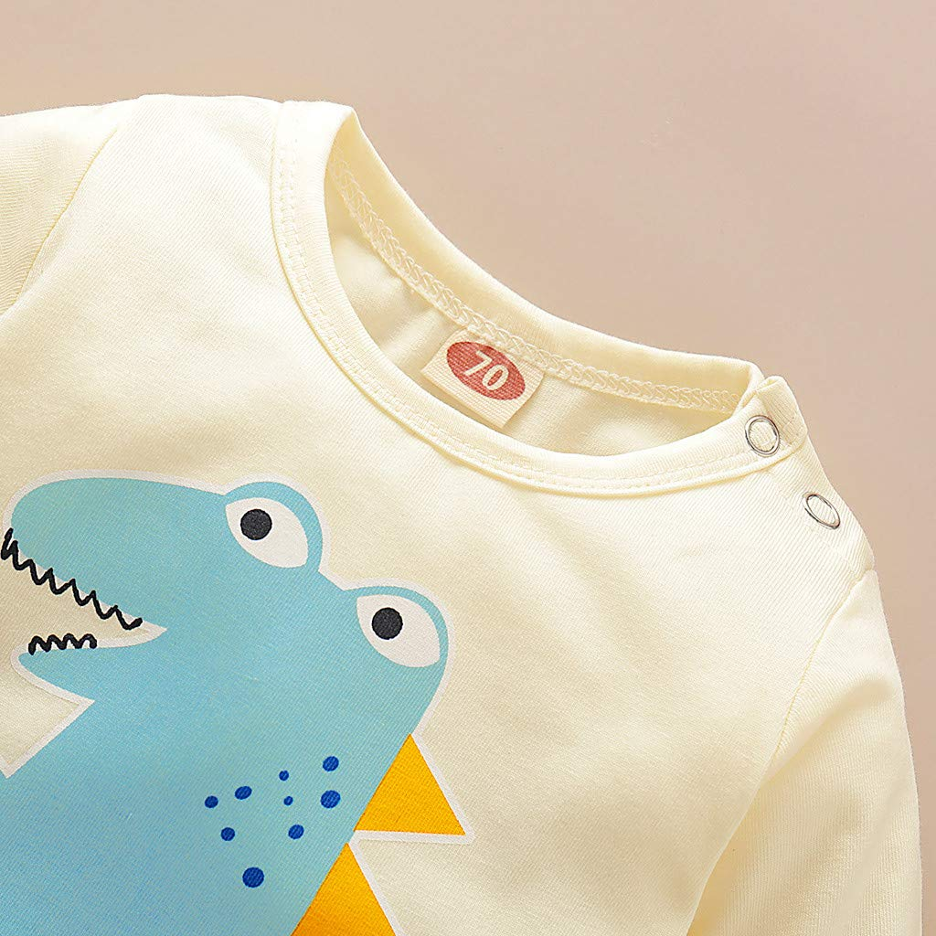 UNICLEE Infant Newborn Baby Boys Girls Cotton Blend Longsleeves Cartoon Dinosaur Striped Romper Jumpsuit Outfits Party Clothes 6-12 Months, Yellow