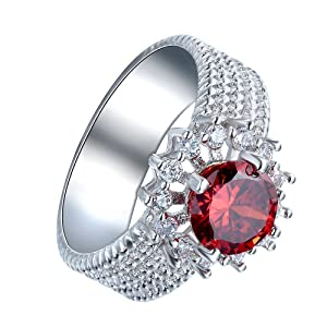 Women's Red Cubic Zircon Wide Band Ring Bridal Wedding Engagement Party Jewelry US 7.8.9
