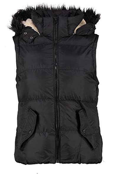 Boohoo Womens Rhea Faux Fur Hood Padded Gilet At Amazon Women S