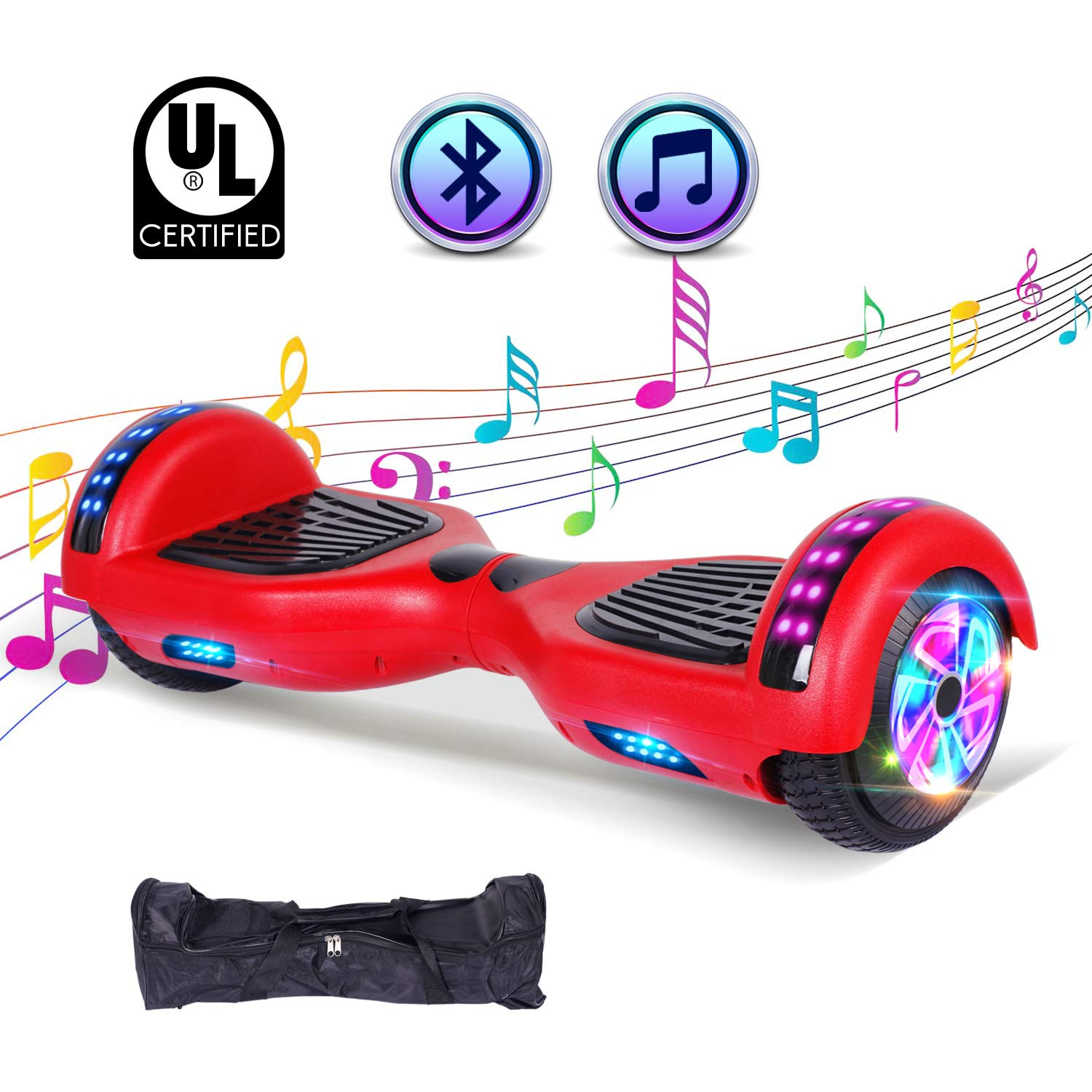 "SWEETBUY Hoverboard UL 2272 Certified 6.5"" Two-Wheel Bluetooth Self Balancing Electric Scooter with LED Light Flash Lights Wheels RED(Free Carry Bag)"