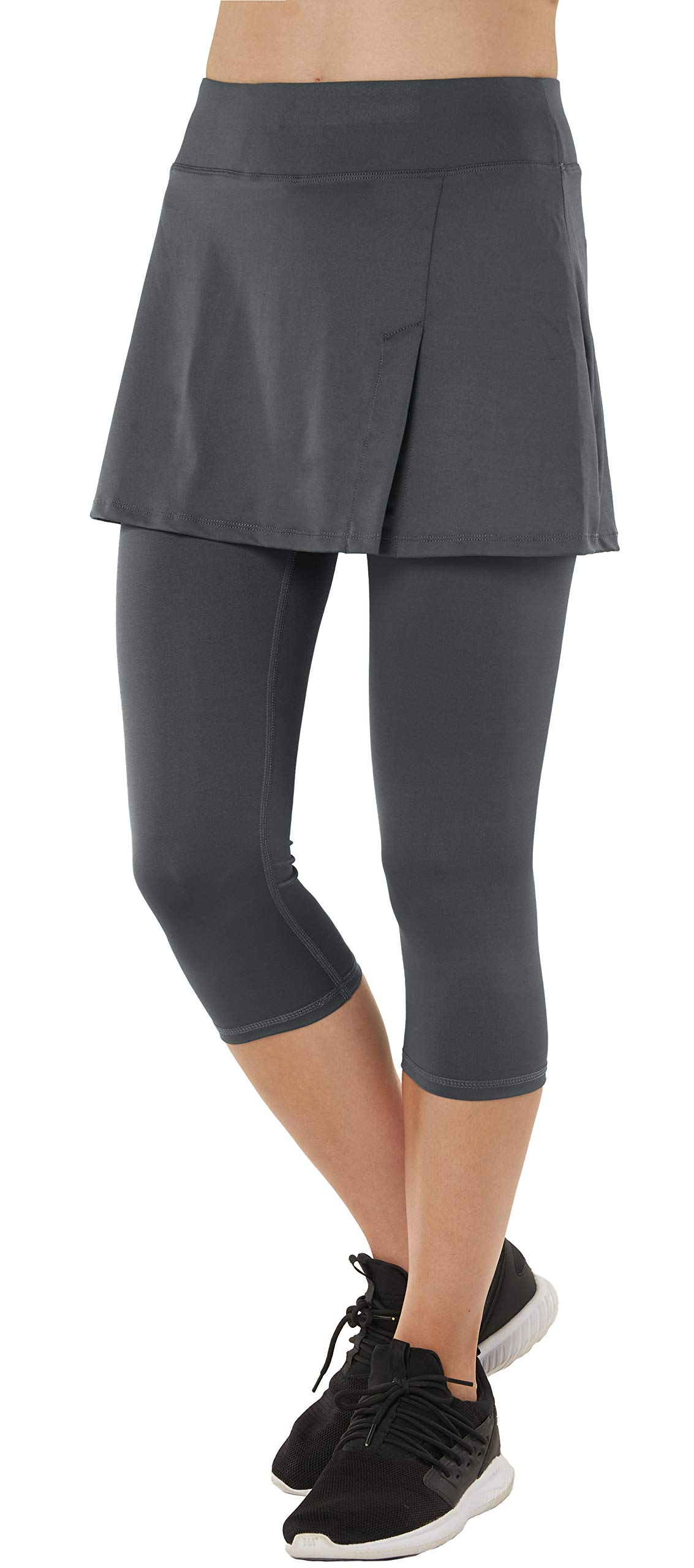 Womens Sport Skapri with Pockets Slit Side Skirt with Built-in Capri Legging Grey XS by slimour