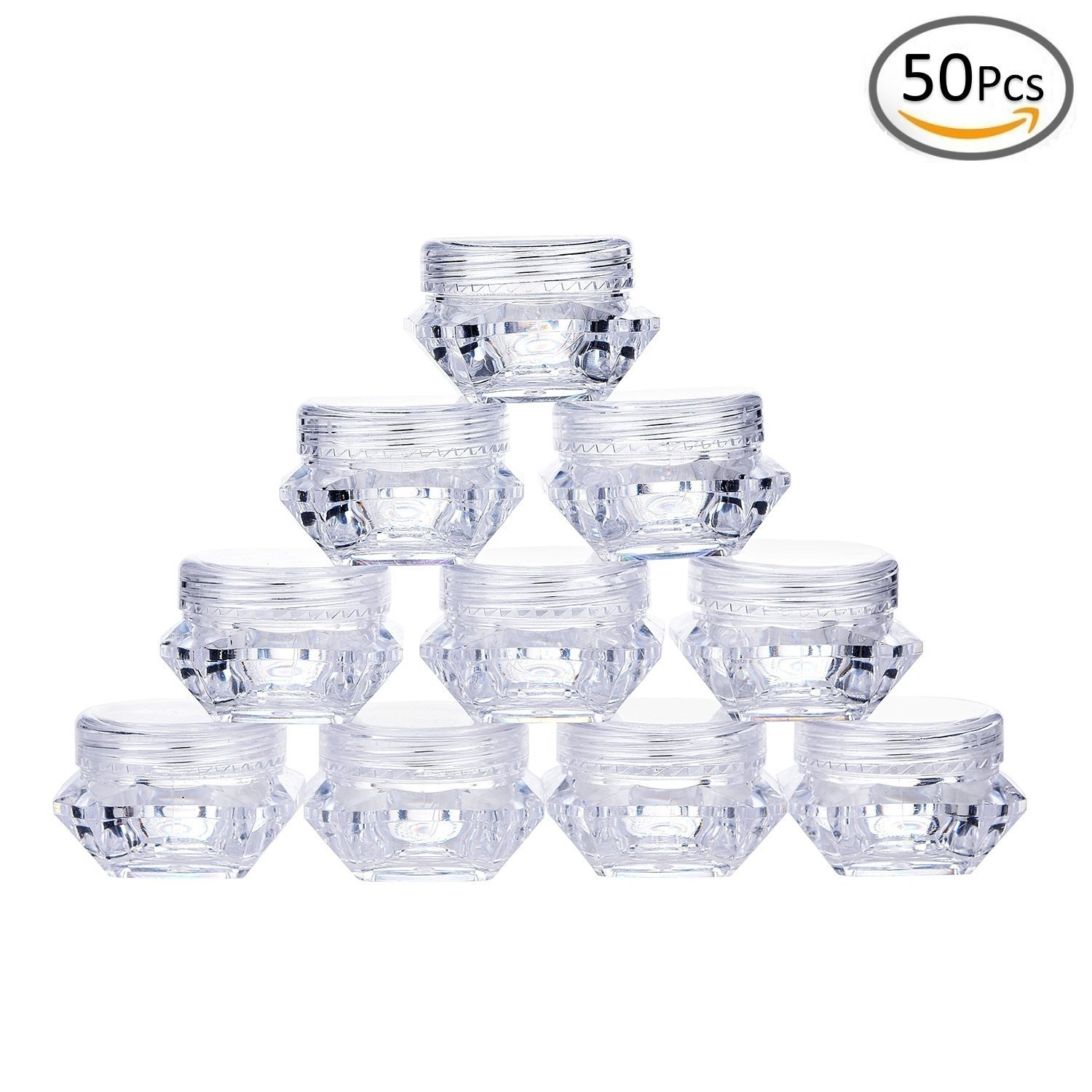 Goege 5 Gram Jar 5ML Clear Empty Plastic Pot Containers Refillable Cosmetic Lotion Diamond Container Screw Cap Lid 50 Pcs