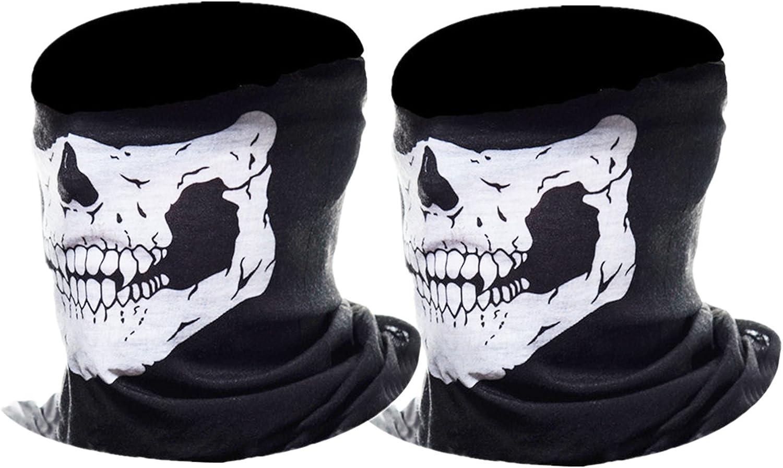 eBoot Máscara de Calavera Mascarilla Fantasma de Medio Cráneo de Motocicleta, (Negro, 2 Paquete)