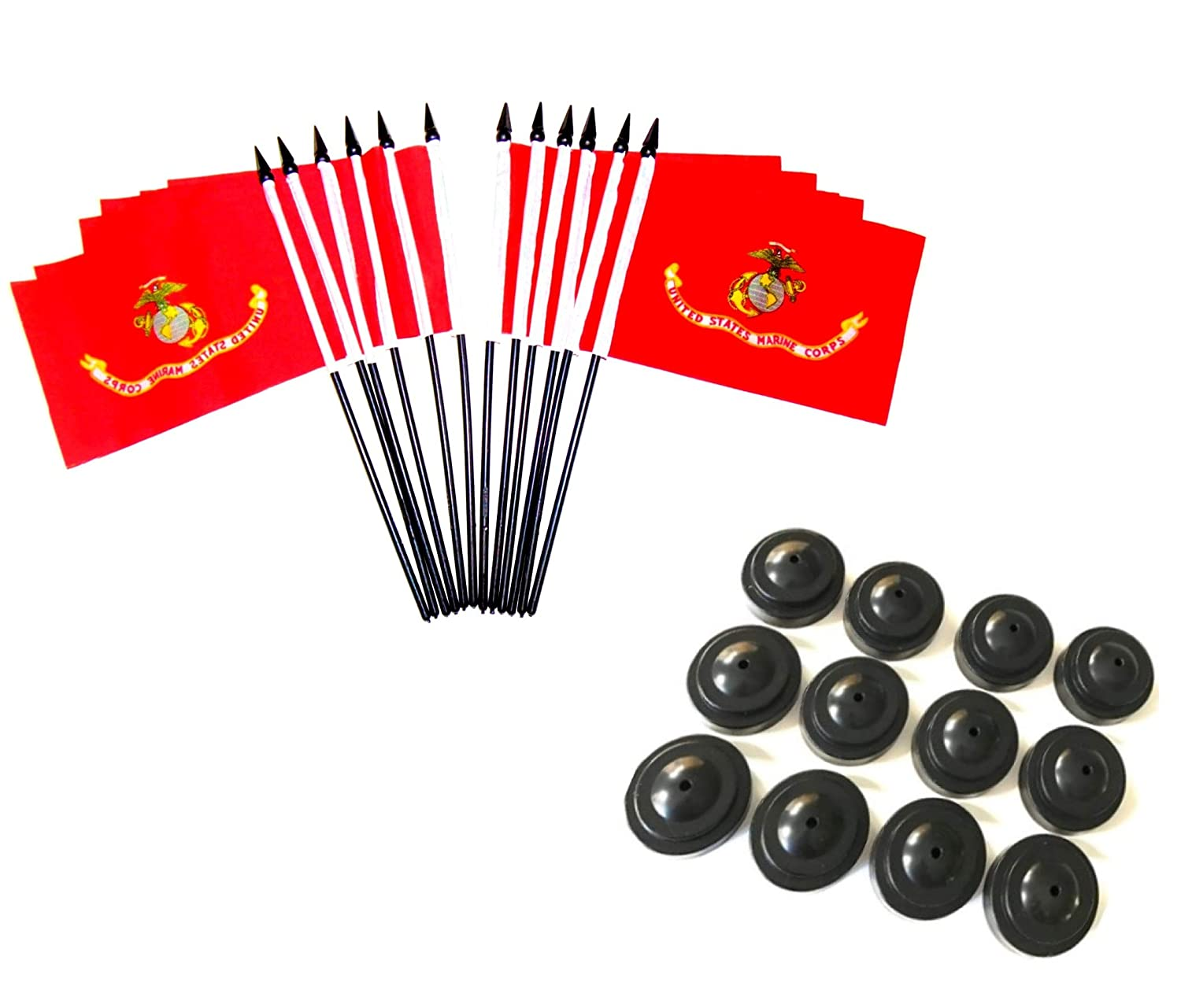 """Box of 12 United States Military Service Miniature Desk & Table Flags Includes 12 Flag Stands & 12 Polyester Small Mini Military Stick Flags (4""""x6"""" Marine Corps - 12 Polyester Flags and Bases)"""