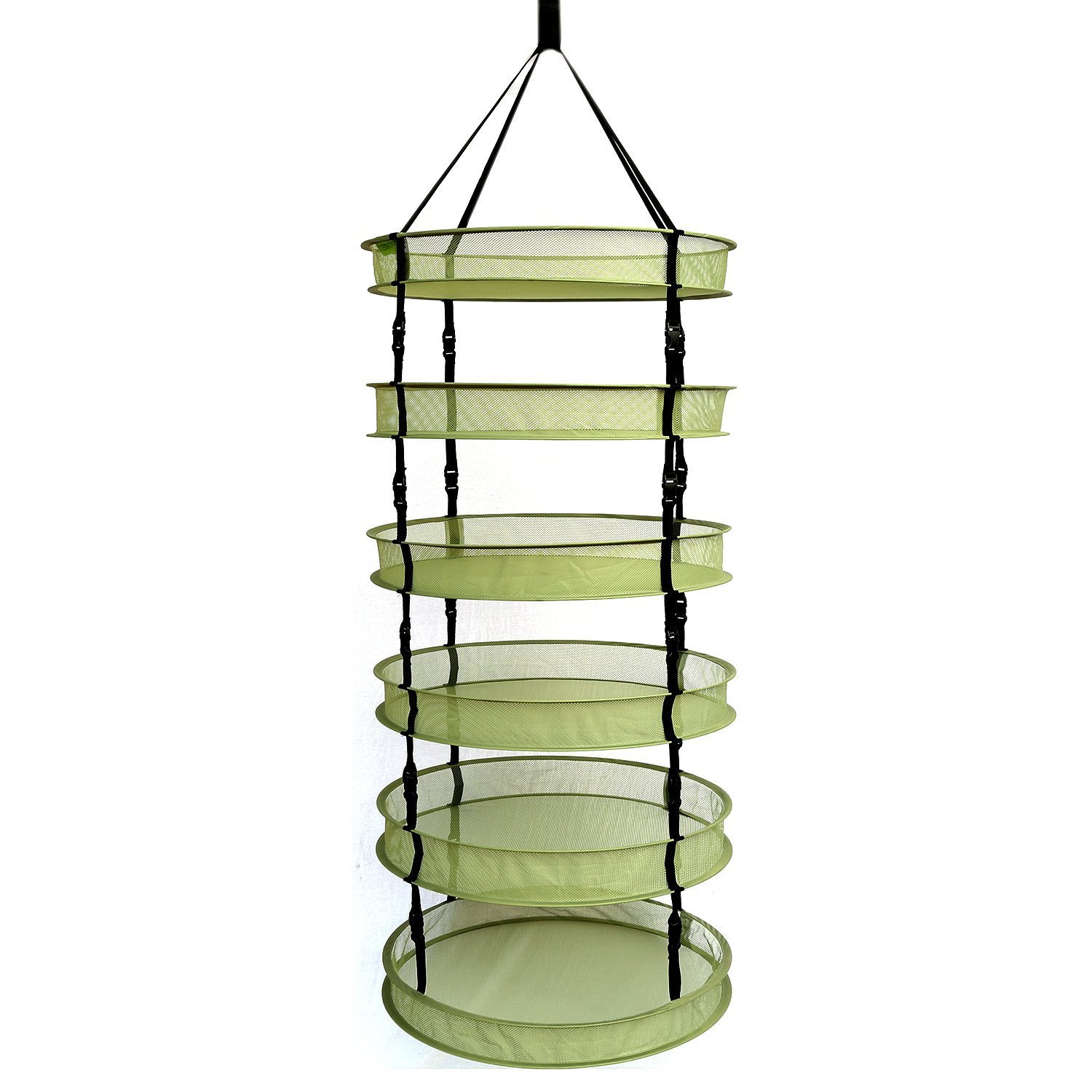 IPOMELO Hanging Herb Drying Rack Dry Net 2ft 6 Layer Clip-On Collapsible Green Mesh