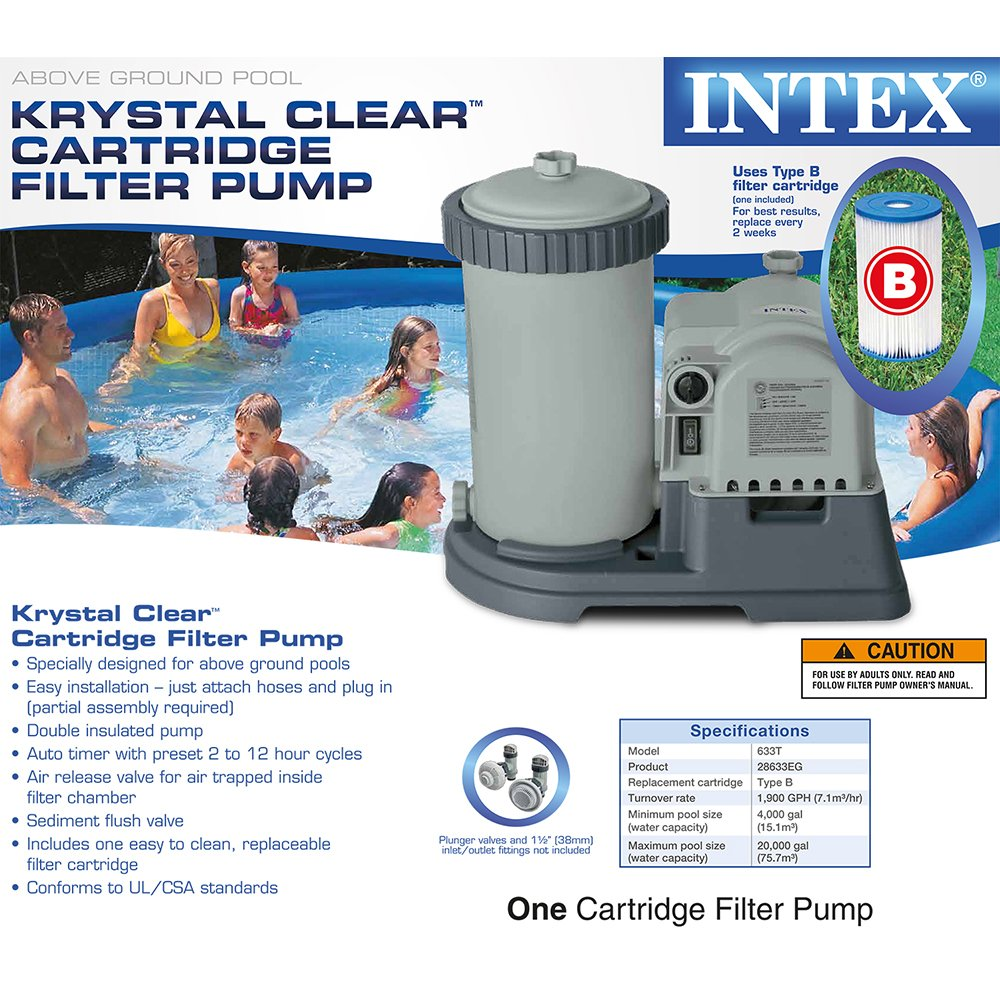 amazon com intex krystal clear cartridge filter pump for above amazon com intex krystal clear cartridge filter pump for above ground pools 2500 gph pump flow rate 110 120v gfci swimming pool water pumps