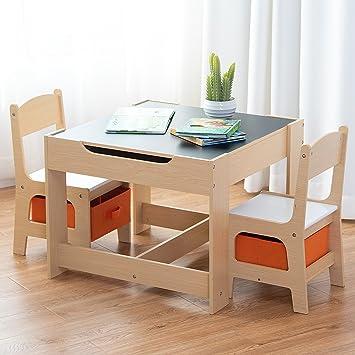COSTWAY 3 TLG Kindersitzgruppe Kindermobel Kinderstuhl Tisch Holz Maltisch