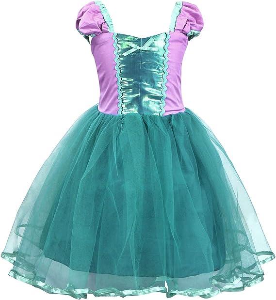 AmzBarley Niñas Princesa Rapunze/Sirena/Cenicienta Vestirse ...