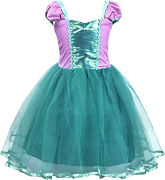 Cotrio Princess Cinderella/Mermaid/Rapunzel/Aurora/Belle Dress Up Costume for Baby Girls
