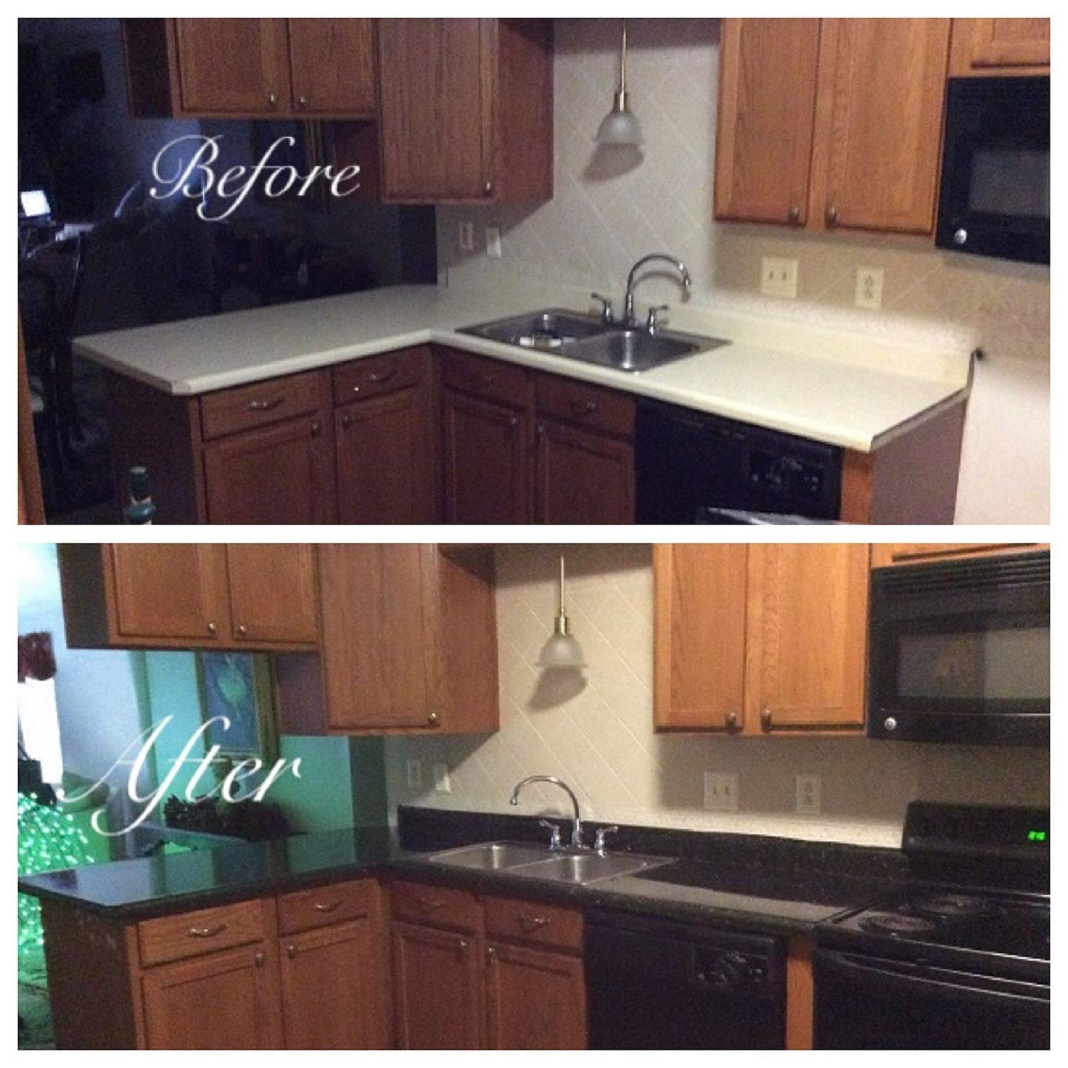 Countertop Paint? No!! Upgrade Counter Tops with Removable Black Marble Granite Bubble Resistant SELF Adhesive PET/PVC Vinyl Film 36'' x 96'' by EZ FAUX DECOR (Image #8)