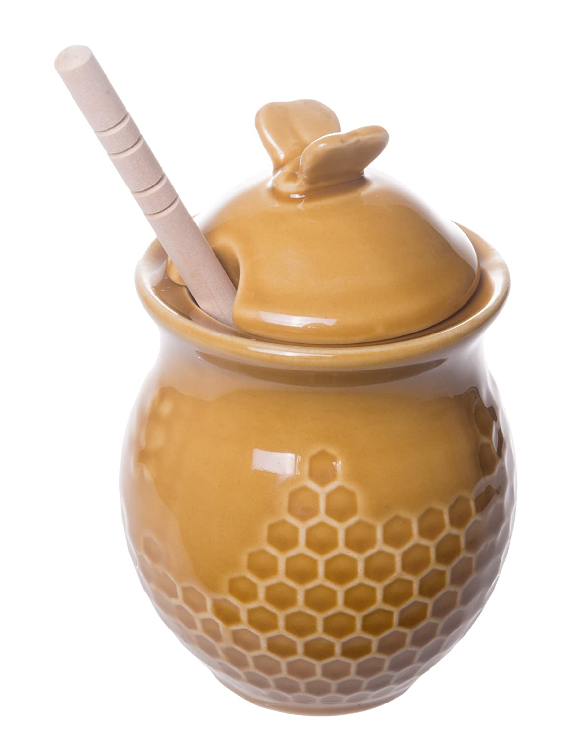 Adorable Honeycomb Shaped Honey Jar with Bamboo Honey Dipper Red Co 4-inch Gold Finish