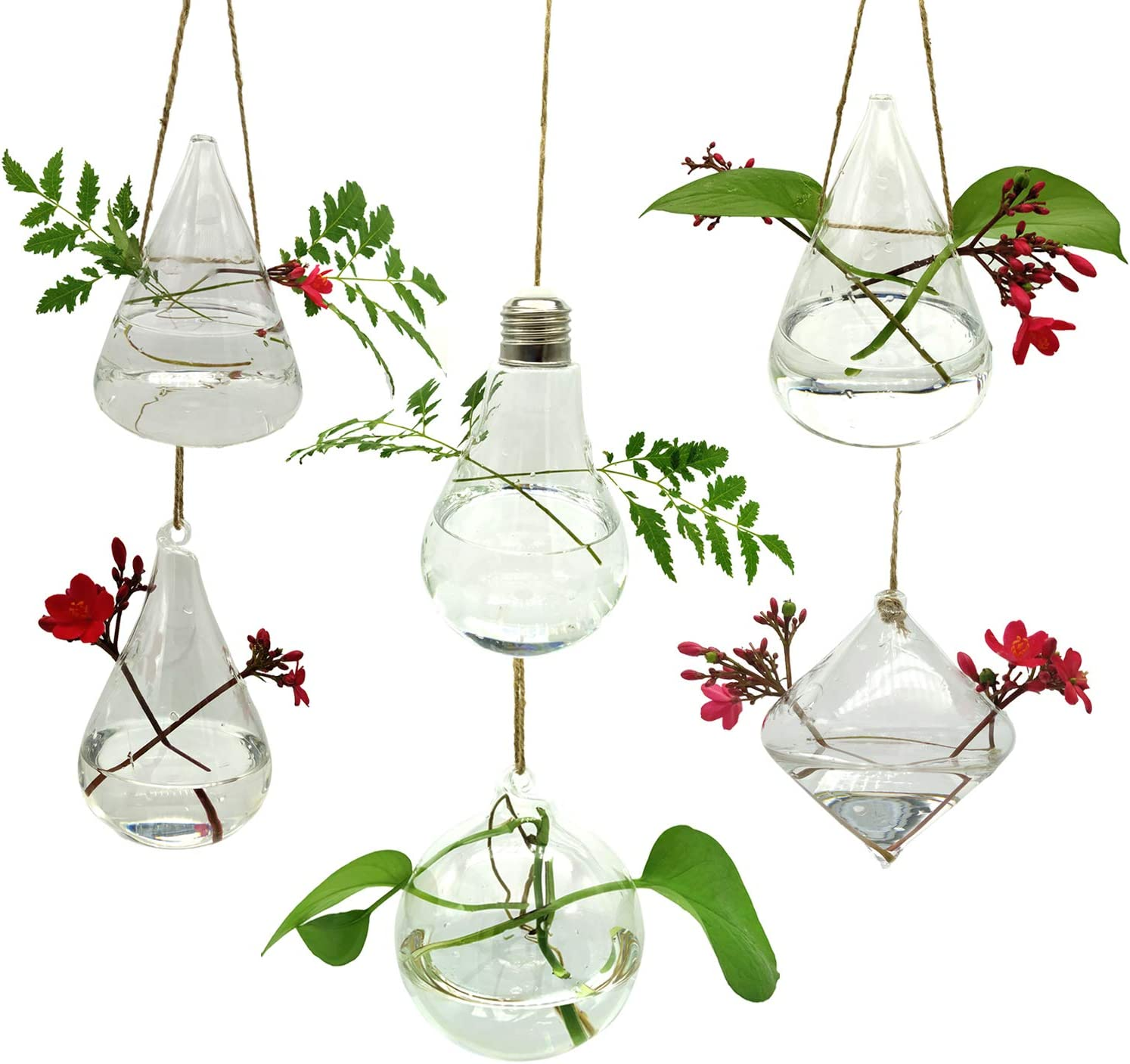 Glass Hanging Planters Succulent 6PCS/Set with Two Mini Holes and Twine Rope Terrarium Pots Containers Air Plant Bud Flower Vase Indoor Outdoor for Home, Garden, Weddding, Party, Anniversary.