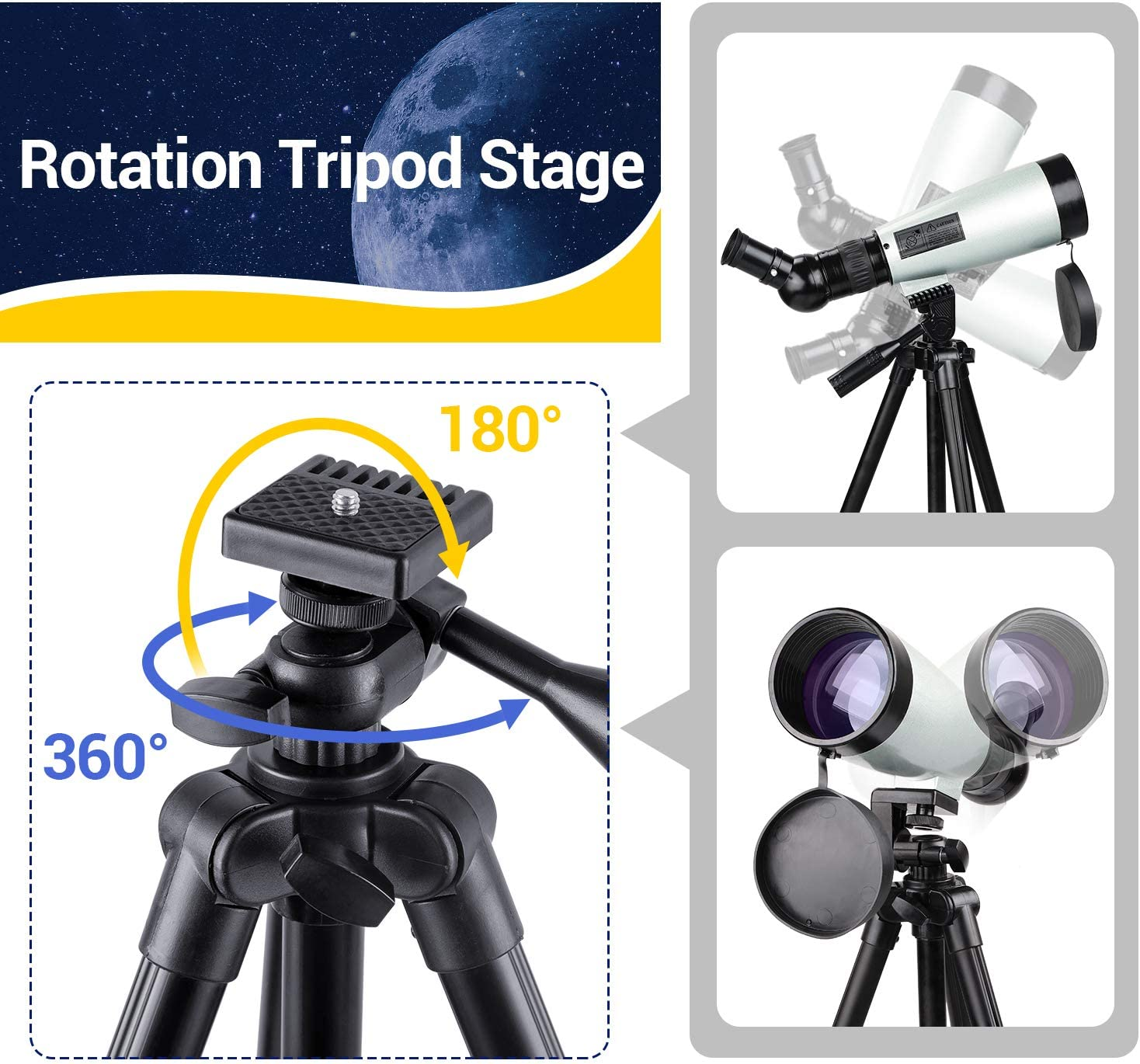 Smartphone Adapter HUTACT 300mm Telescope for Kids Adults Astronomy Beginners with Tripod 70mm Aperture Refractor Telescope for Astronomy Two Eyepieces Barlow Lens