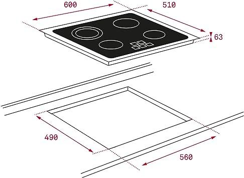 Teka | Placa de Vitrocerámica | Modelo TB6315 | 3 zonas Touch Control | 60CM: 161.52: Amazon.es: Grandes electrodomésticos