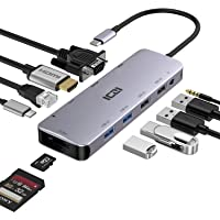 ICZI Hub USB C Thunderbolt 3 12 en 1 Adaptador USB Tipo C a 4 USB HDMI 4K Dex VGA RJ45 Ethernet Lector de Tarjeta SD TF…