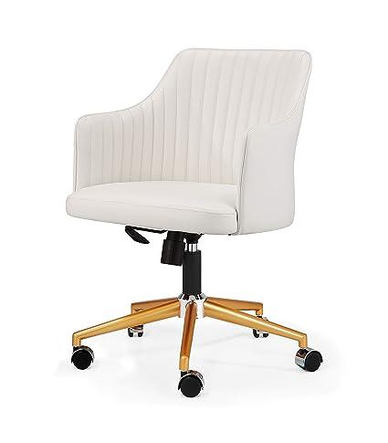 big sale c7b6c 39c8c MEELANO 64-GD-WHI M-64 Office Chair Gold/White