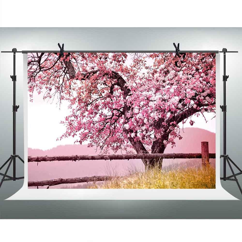 FH 7 x 5ft Cherry Blossoms Backdrop Mountain Grass風景写真背景テーマパーティーYoutube Backdrops壁紙写真ブース小道具Studio gyfh189   B07DB2PQ72