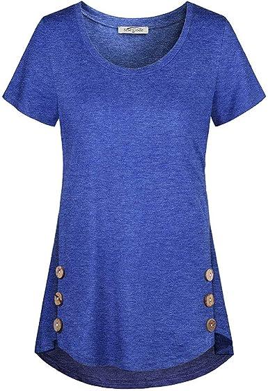 Femmes manches longues T-shirt été t-shirt col rond et boutonnage avec 3 Boutons Uni