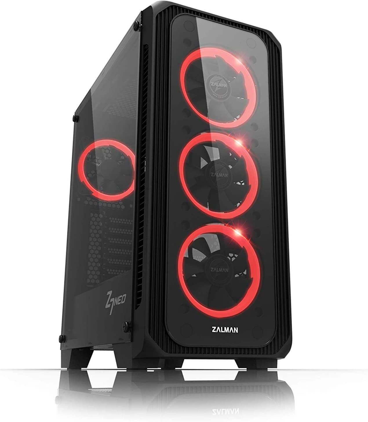 Zalman Z7 Neo for ATX Mid Tower Computer/PC CASE, Black, 2 Tempered Glass Side & Front Panel, RGB LED Lighting SYNC Fan Controller, Pre-Installed 4 x 120mm RGB Ring Fans, High-End PC Case, Black