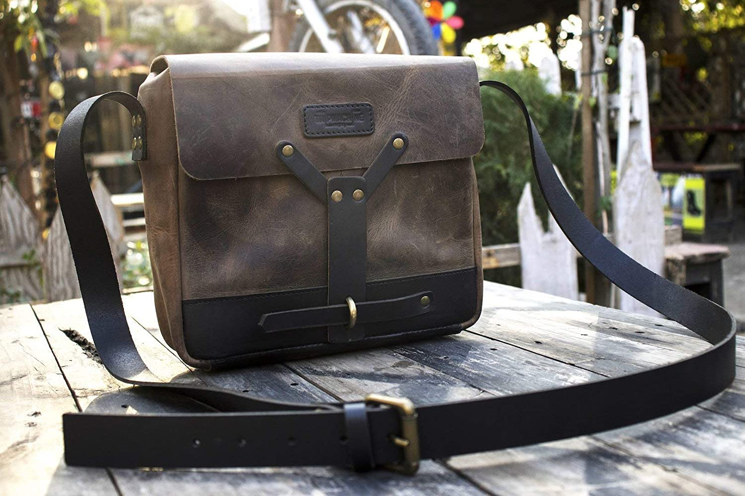 Trip Machine Company Leather Vintage Messenger Bag/Leather Satchel - Tobacco Brown