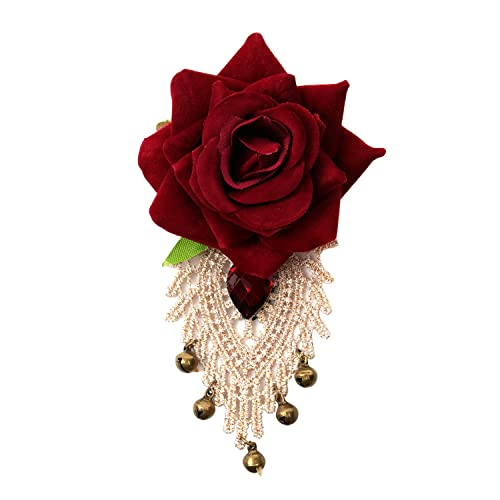 d158fd296 Amazon.com: Ivysan Vintage Red Rose Flower Fabric Brooch Pin for Party  Wedding: Jewelry