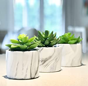 "Kurrajong Farmhouse Set of 3 Artificial Succulents in pots, 4.75"" high x 4"" Wide, Marble Design Planter pots, feaux Succulents in pots, Artificial Succulent Plants, Artificial Plants in pots"
