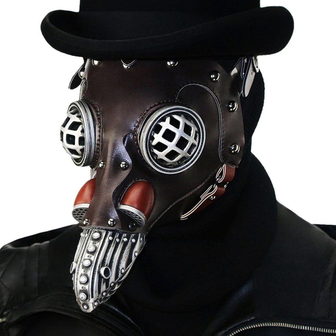 QIYUN.Z Pest Schnabel Maske Gothic Cosplay Retro Doktor Vogelmaske PU-Leder Maske (HG104)
