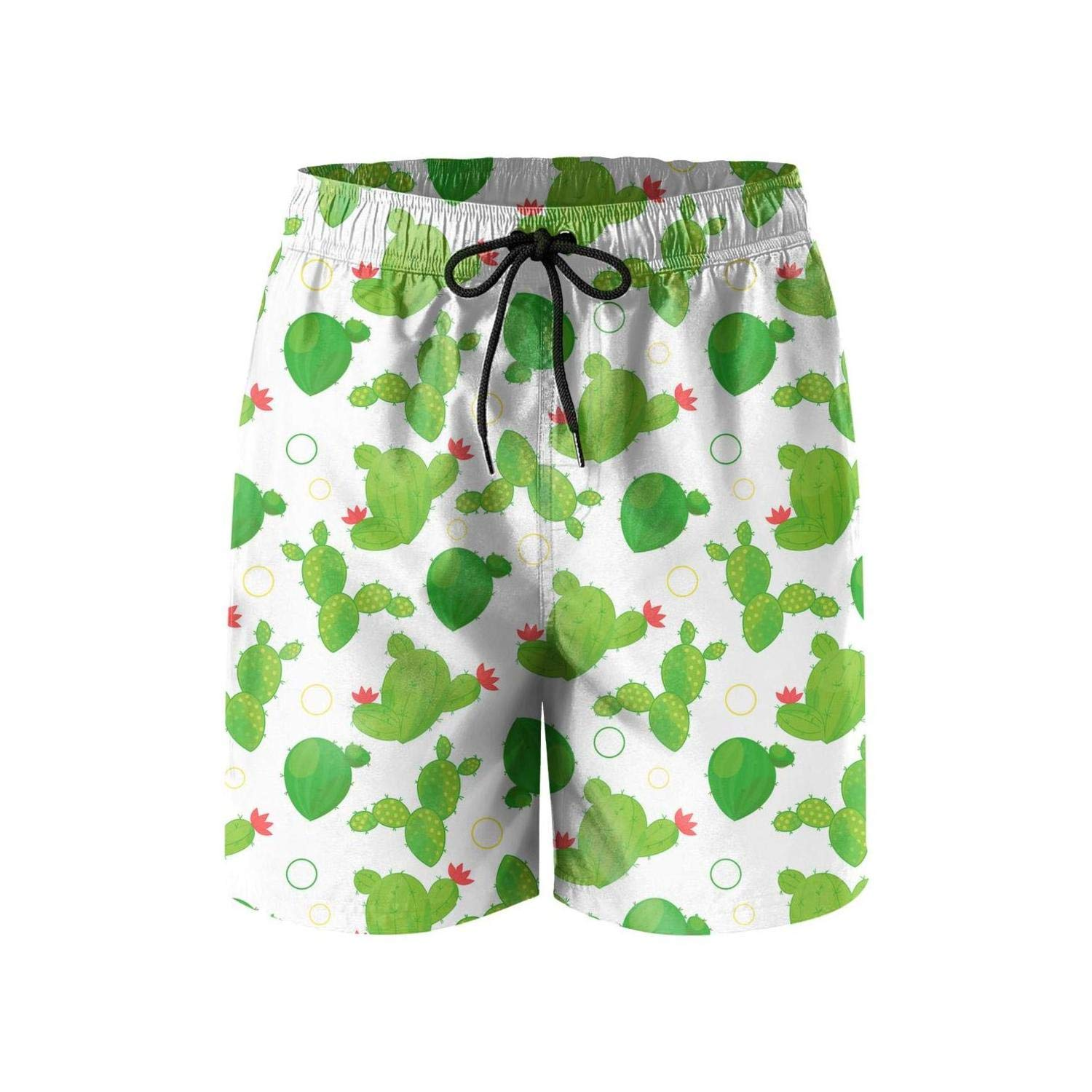KIENENG Abstract Bright Green Cactus Brown Men Swim Trunks Bathing Suit Stretch Board Shorts
