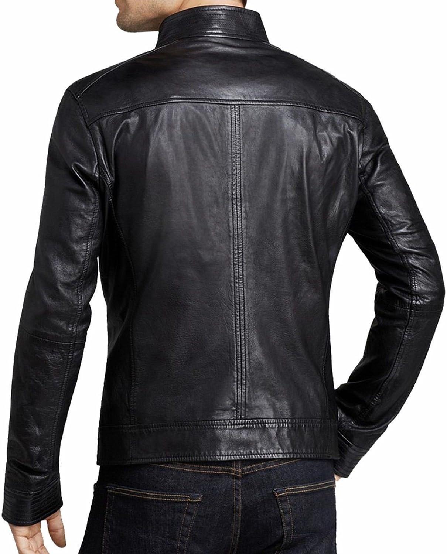 brandMe Mens Genuine Leather Pure Lambskin Biker Jacket MM477