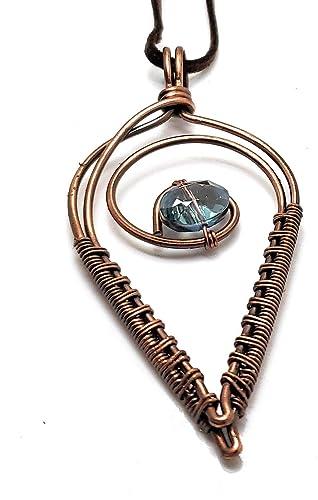 Wirewrapped Pendant Necklace 18 chain Oxidized Brass Copper