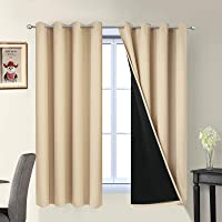 Yakamok 100% Blackout Curtains Thermal Insulated Soundproof Black Lined Curtains Heat Blocking Drapes Living Room…
