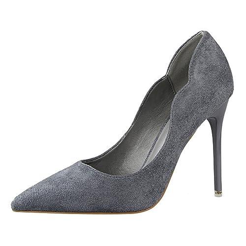 9fc13b96d6dd7f OALEEN Escarpins Elégant Femme Bout Pointu Aspect Cuir Velours Chaussures  Talon Haut Aiguille Gris 34
