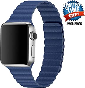 Inno-Huntz Leather Band Compatible with Apple Watch Band 38mm 40mm Replacement 2 Straps for Watch Series 4 3 2 1 Strong Magnetic Closure Wristband for Men Women Dark Blue