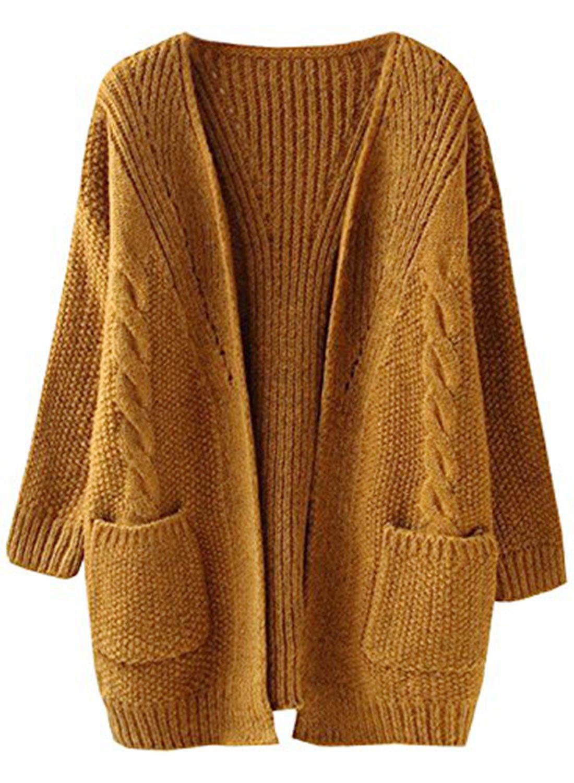 Futurino Women's Cable Twist School Wear Boyfriend Pocket Open Front Cardigan (One Size, Brown) by Futurino (Image #1)