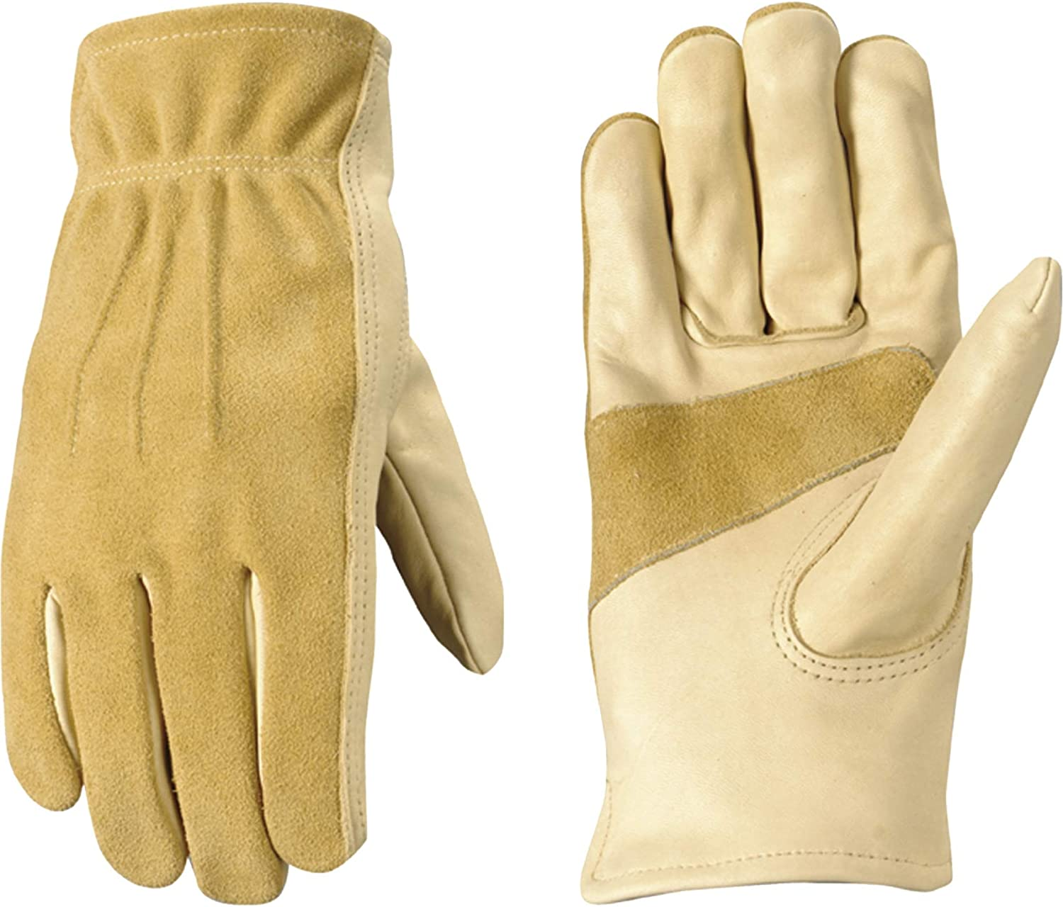 Women's Leather Work and Garden Gloves, Heavy Duty Grain Cowhide, Large (Wells Lamont 1124L),Natural