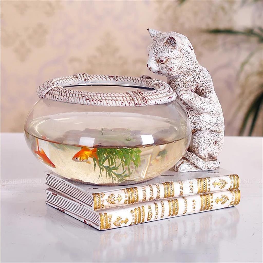 Uncle Sam LI- Creative Kitten Résine personnalité Aquarium bureau Goldfish Bowl verre Aquarium Articles d'ameublement Uncle Sam LI UK