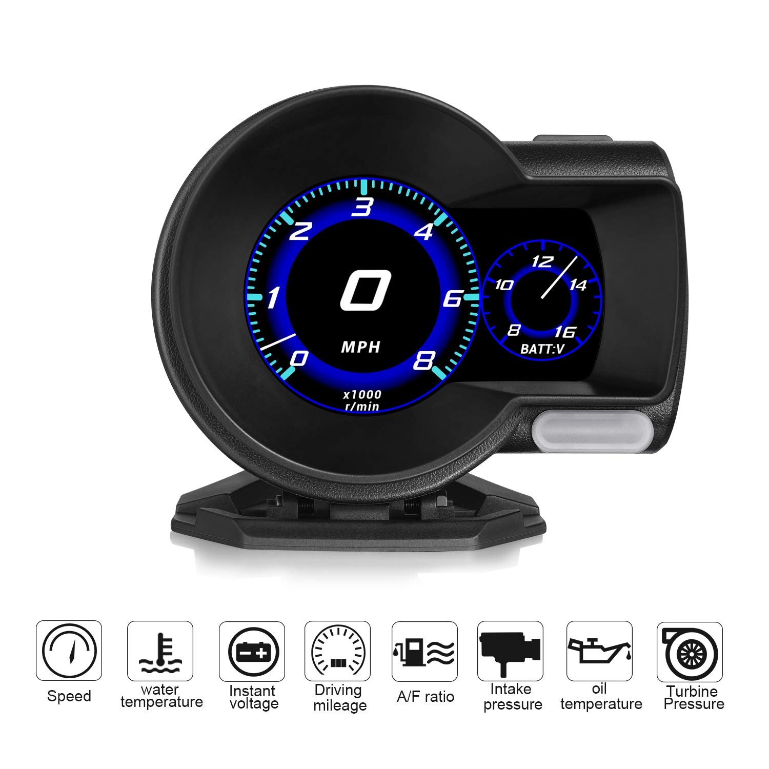 Widerlife Universal Car HUD Head Up Display OBDII EUOBD Multi-Function HD TFT LCD Instrument Refitting Code Table Display with Test Brake Test Overspeed Alarm by Widerlife