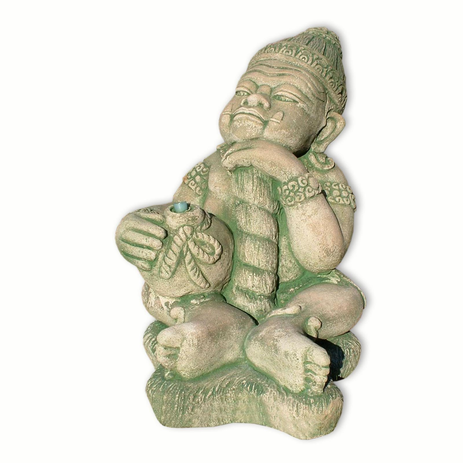 Thai guardian sitting, fountain, water shoot, sandstone, imported from Thailand, red/green (10233) by Wilai GmbH
