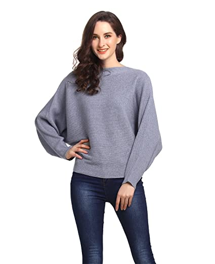 Amoretu Women s Casual Long Batwing Sleeve Off Shoulder Pullover Sweaters  Top Grey c9eb53f5d