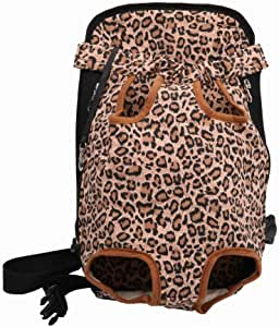 Riveroy Legs-Out Front Pet Dog Carrier,Hands-Free Adjustable Backpack Travel Bag for Small Medium Puppy Doggie Cat Bunny Breeds Outdoor (L, Leopard)