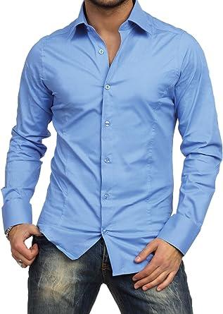 Camisa de manga larga rematada hombre corte slim fit Business